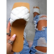 Lovely Casual Plaid Pattern White Slippers