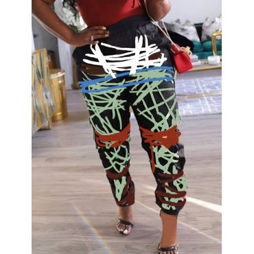 LW Plus Size Trendy Letter Print Patchwork Green Pants(Batch Print)