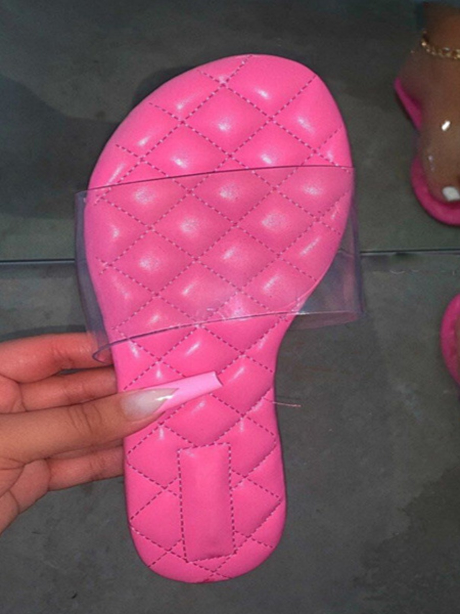 Lovely Casual Quilted Slide See-through Pink Slippers
