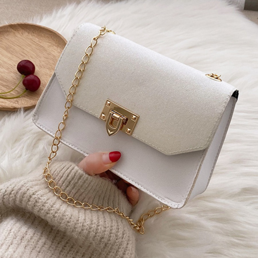 Lovely Casual Sequined Chain Strap White Crossbody Bag, lovely, Messenger Bag&Crossbody Bag  - buy with discount