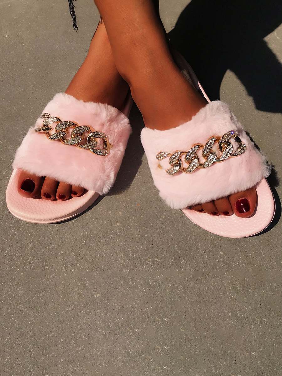 Lovely Casual Chain Decoration Pink Slippers
