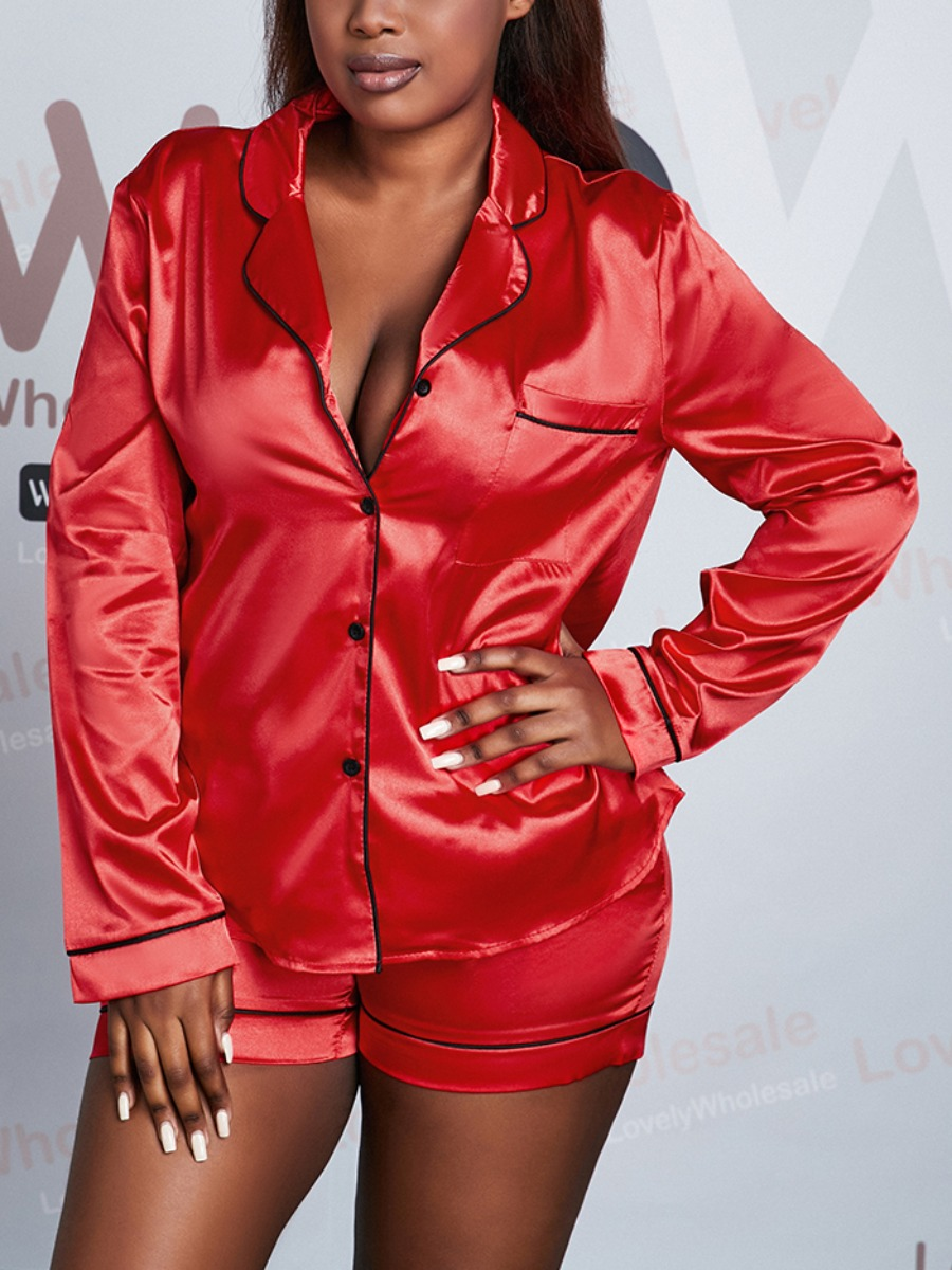Lovely Casual Turndown Collar Button Design Red Plus Size Sleepwear, lovely  - buy with discount