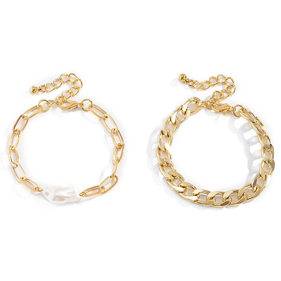 Lovely Casual Hollow-out Gold 2-piece Bracelet