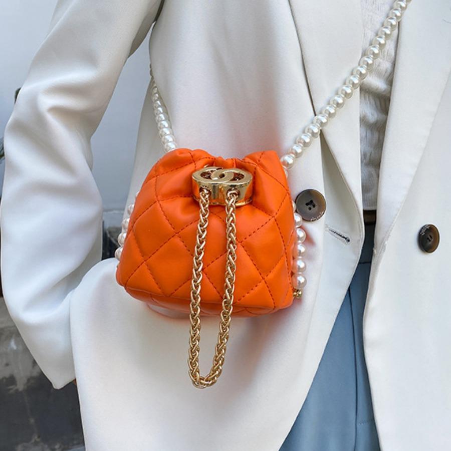 Lovely Street Pearl Decoration Orange Crossbody Bag