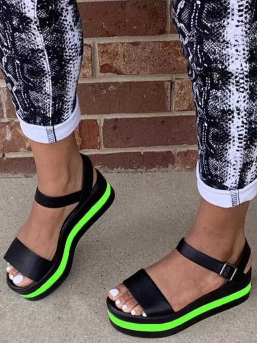 Lovely Casual Striped Green Platform Shoes
