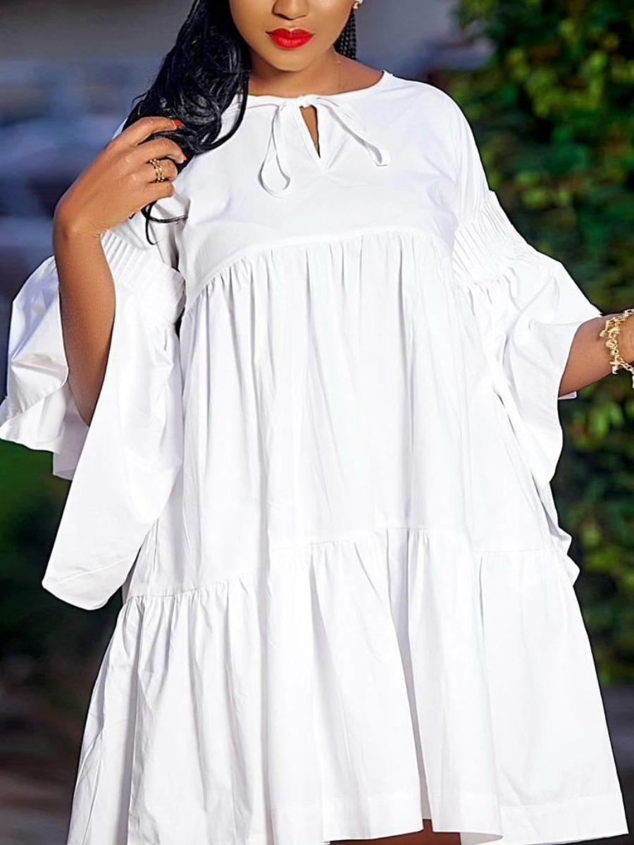 Lovely Casual Flared Flounce Design White Mini Plus Size Dress