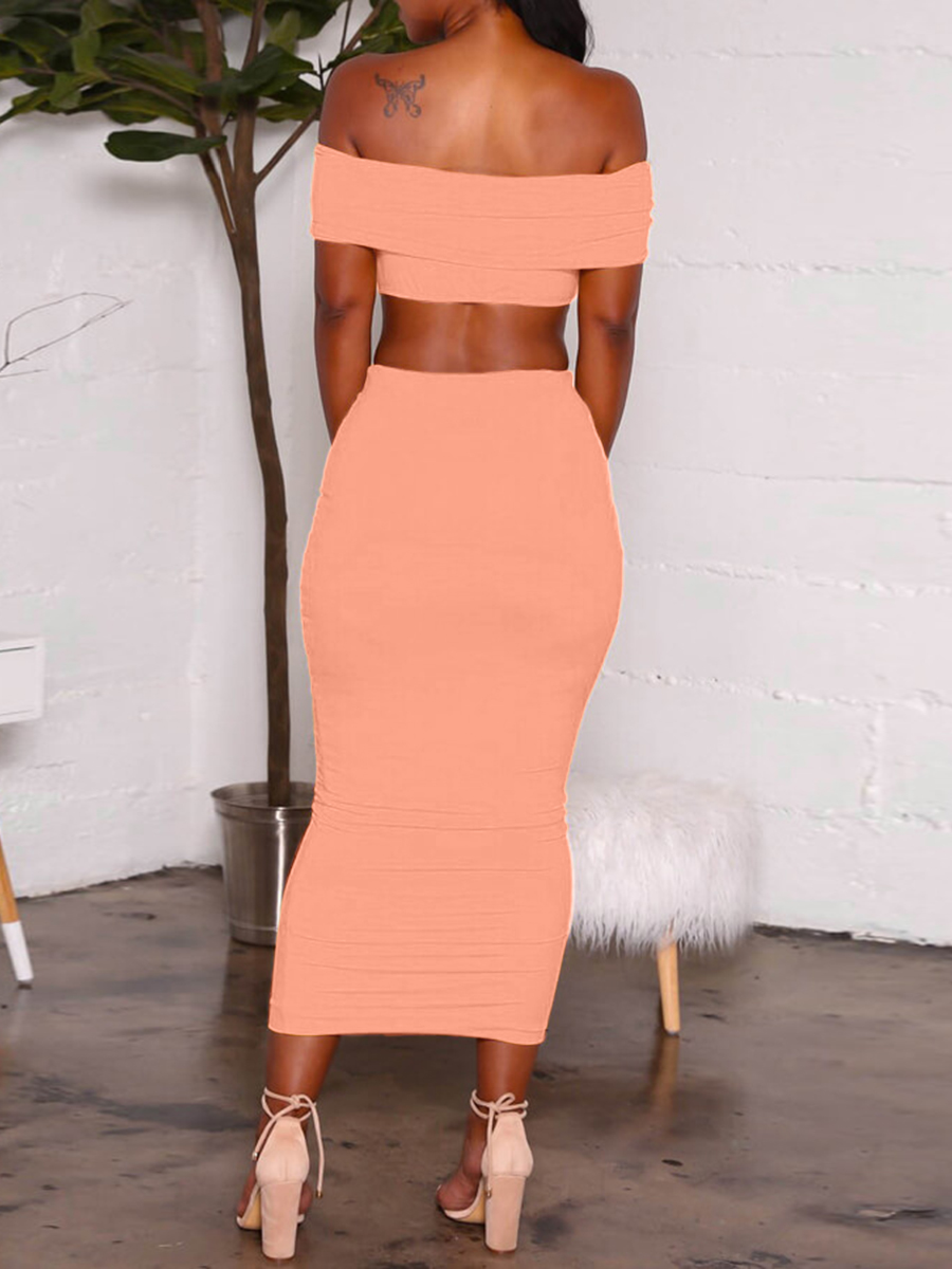 Lovely Casual Off The Shoulder High-waisted Pink Two Piece Skirt Set