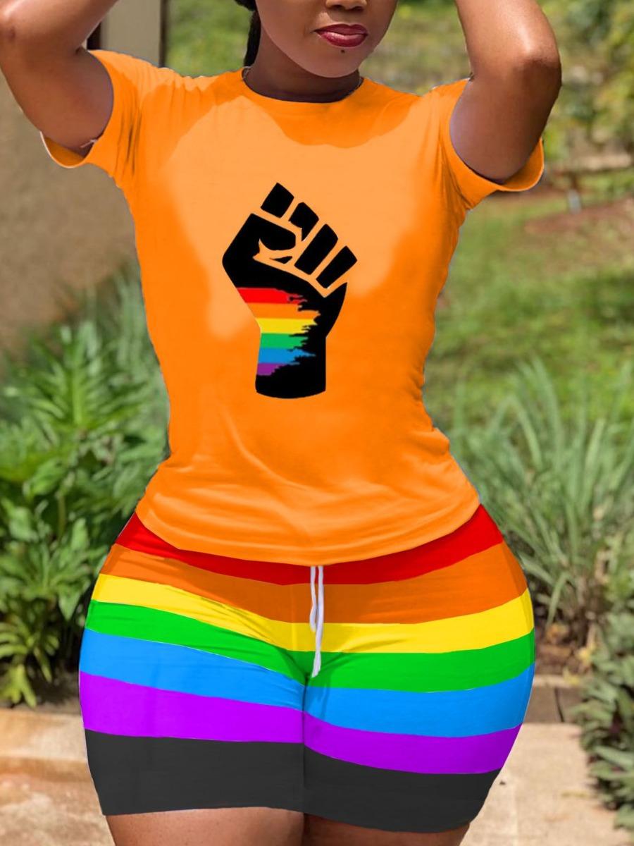 LW BASICS Street Fist Print Rainbow Stripe Croci Two Piece Shorts Set