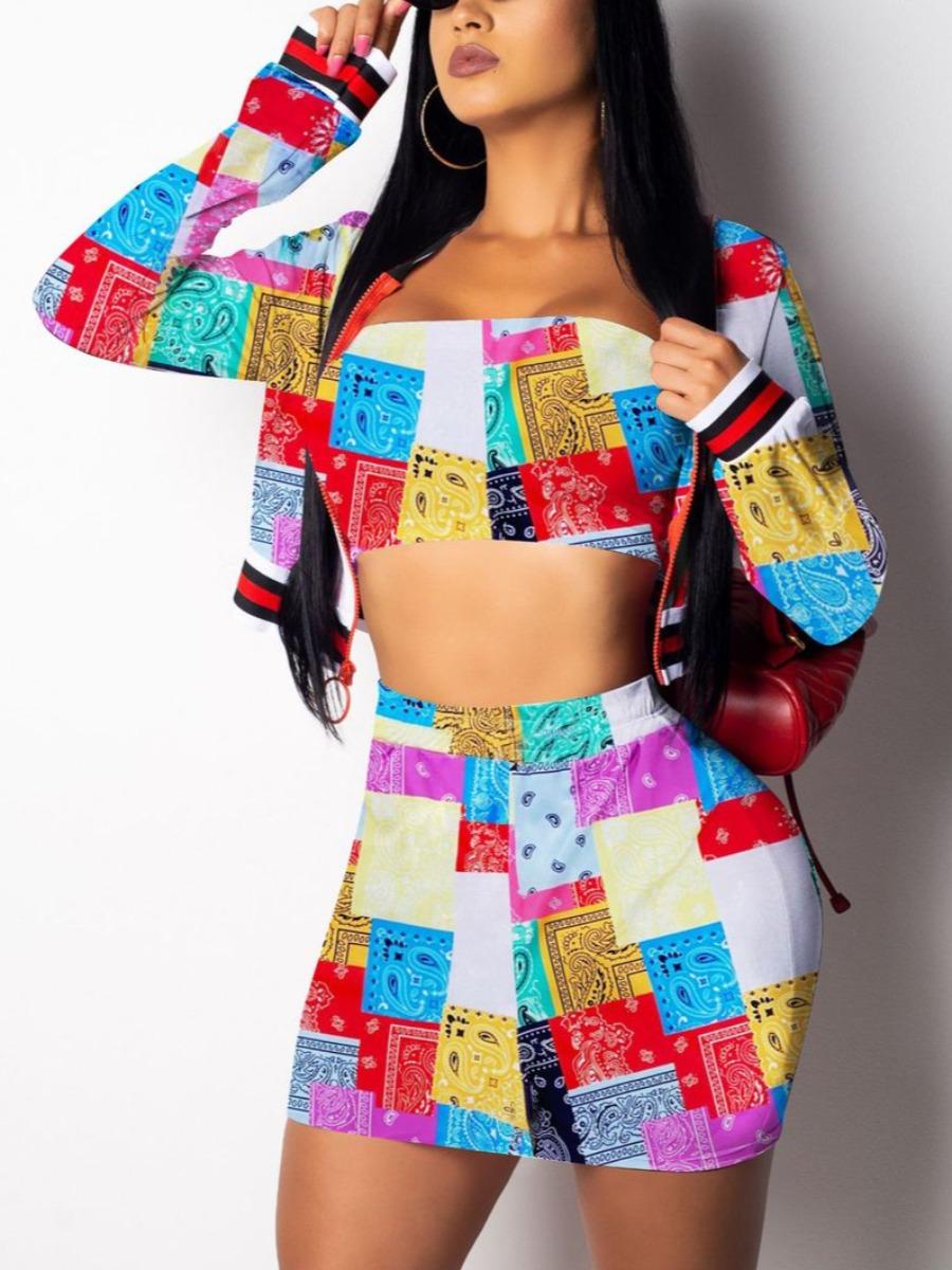 LW Plus Size Casual Geometric Print Patchwork Red Three-piece Skirt Set