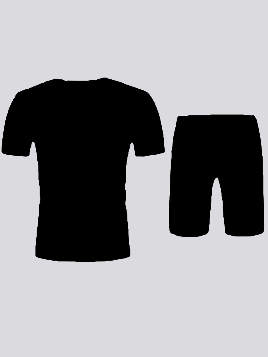 LW Men Casual O Neck Letter Print Black Two Piece Shorts Set