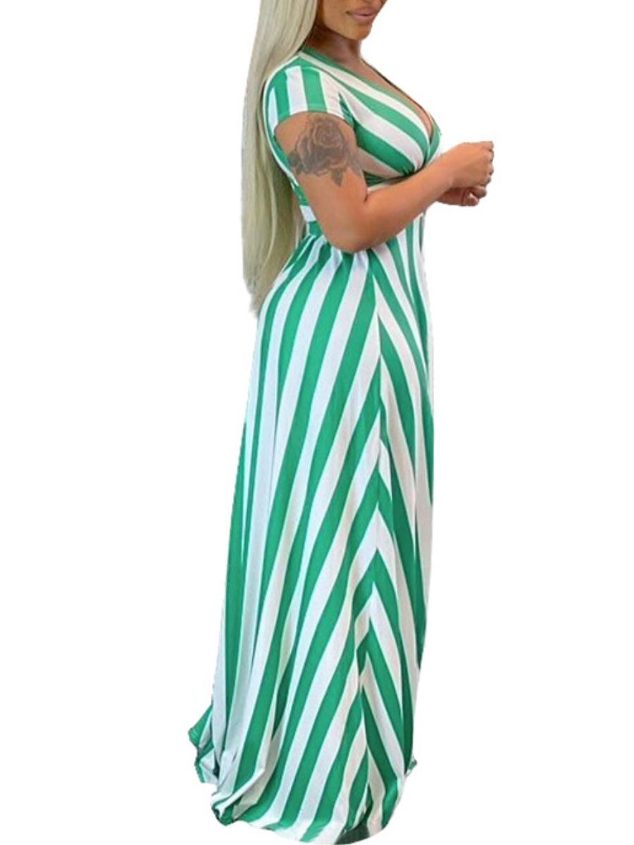 Lovely Boho Striped Split Green Floor Length Plus Size Dress