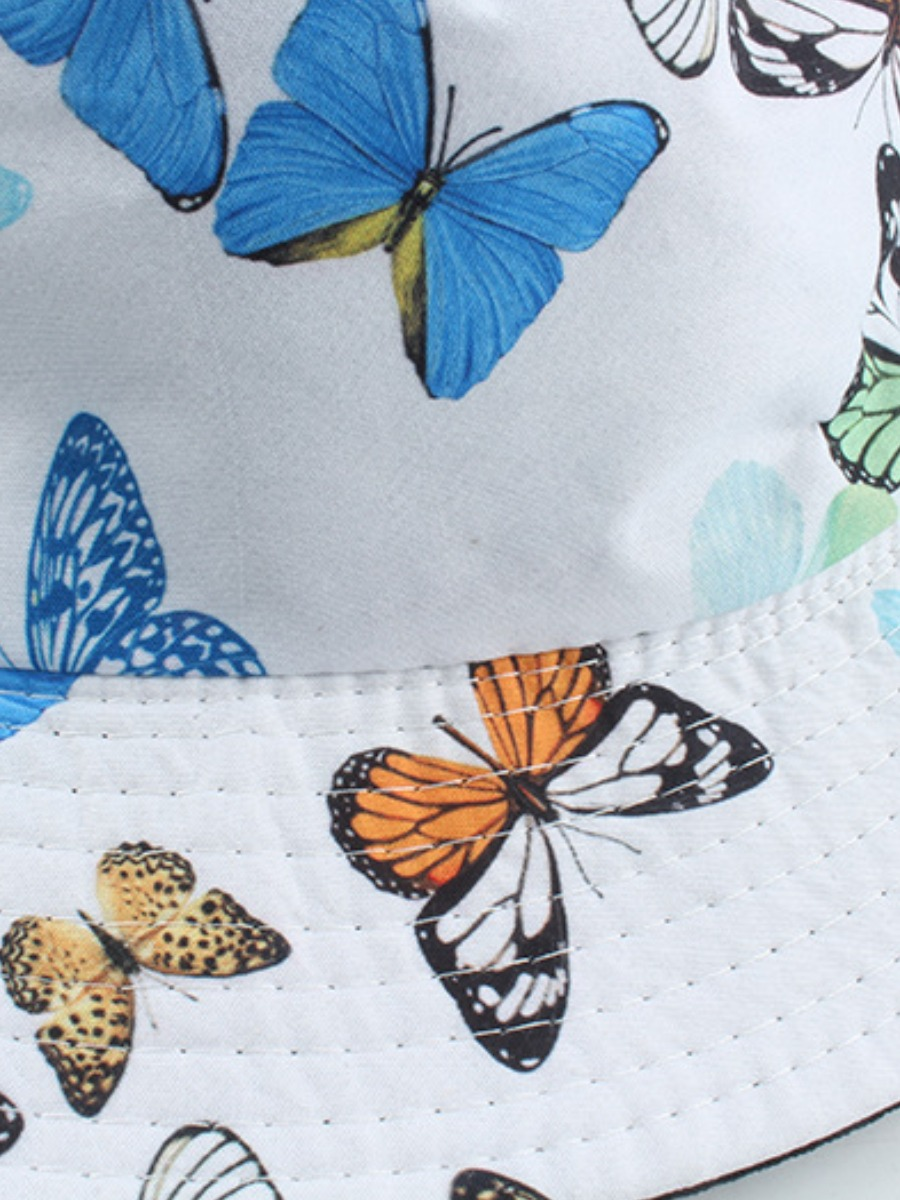 LW COTTON Casual Butterfly Print White Hat
