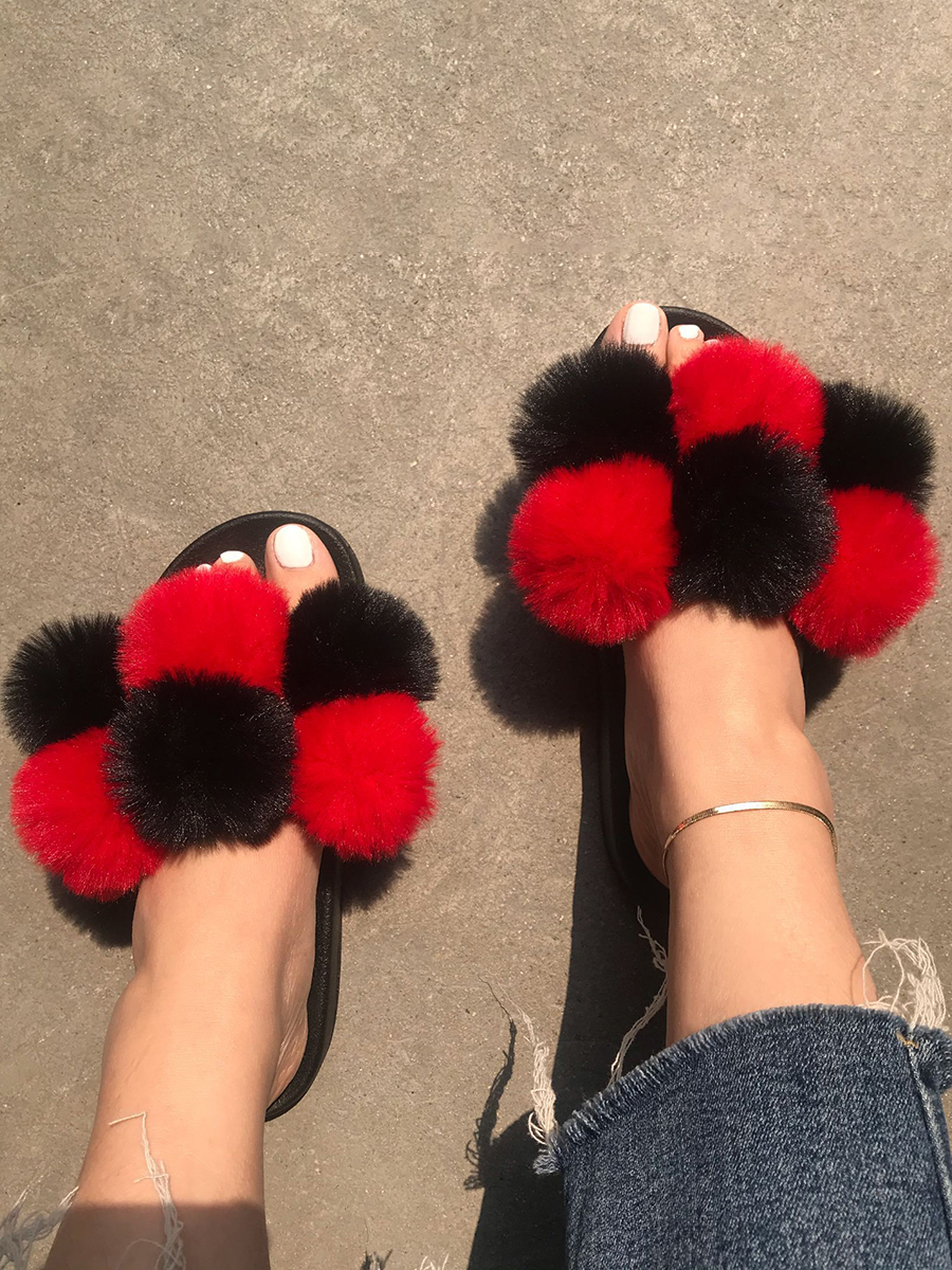Lovely Casual Fluffy Red Slippers