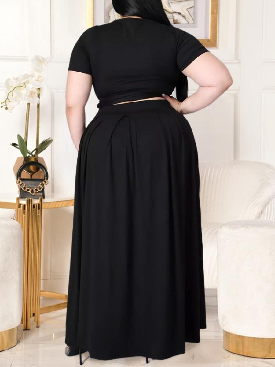 LW Plus Size Boho Bandage Fold Design Black Two-piece Skirt Set