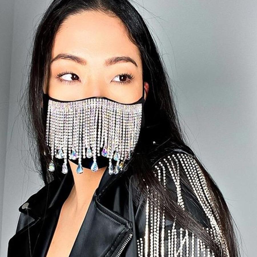 LW Street Tassel Design Black Face Mask