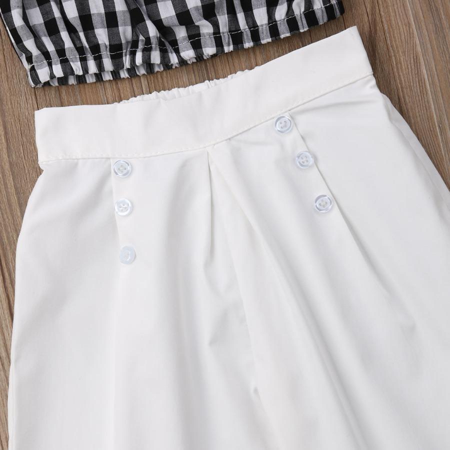 LW COTTON Girl Casual Plaid Print Ruffle Design White Two Piece Pants Set