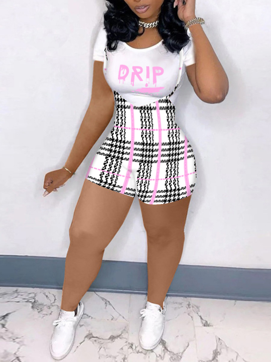 LW Plus Size Casual Letter Plaid Print Overall White Two-piece Shorts Set
