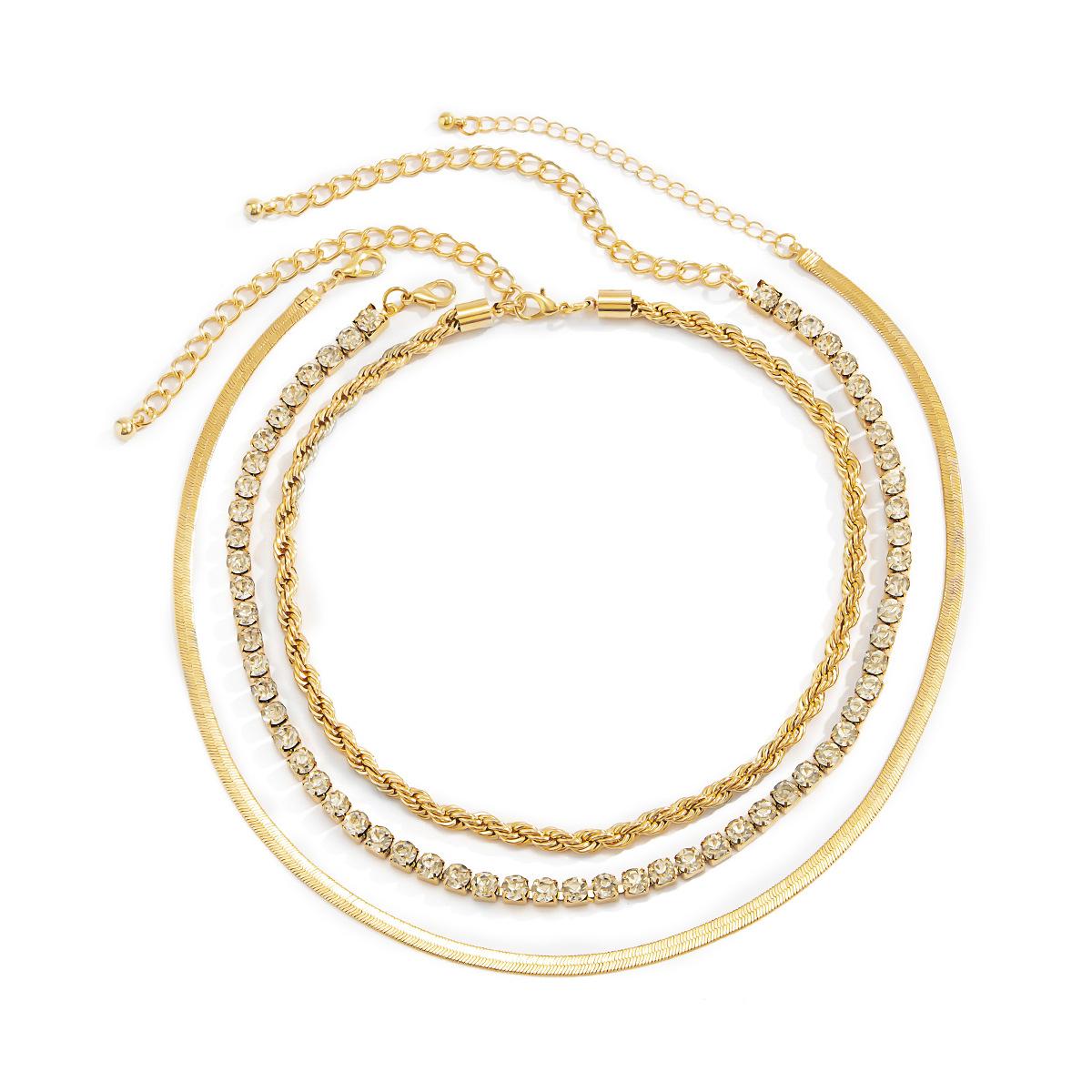 Lovely Casual Snakeskin Gold Multilayer Necklace