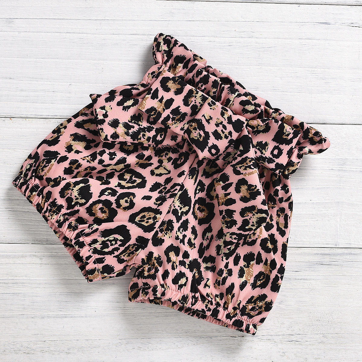 Lovely Girl Casual Heart Print Bow-tie Decor Pink Two Piece Shorts Set(With Headband)