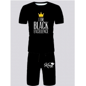 Lovely Men Casual Crown Letter Print Black Two Piece Shorts Set
