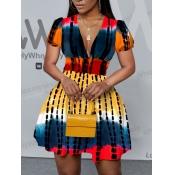 Lovely Casual Tie-dye Flounce Design Multicolor Mini A Line Dress