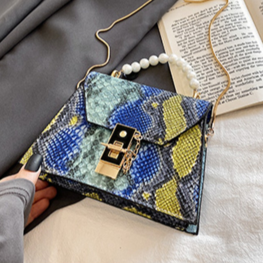 Lovely Casual Pearl Decoration Blue Crossbody Bag