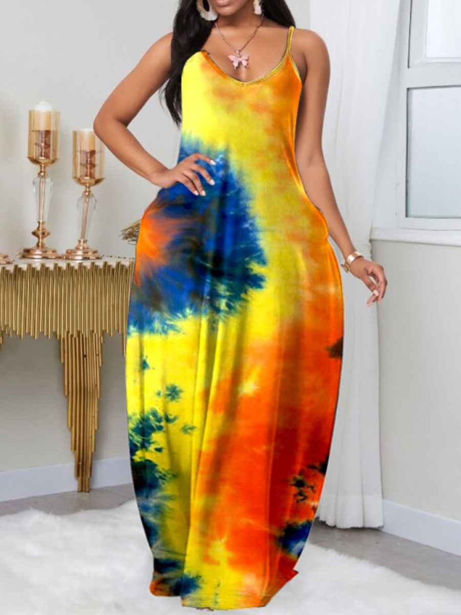 LW Plus Size Boho U Neck Tie-dye Yellow Floor Length Dress