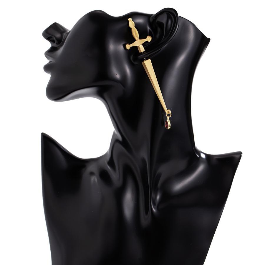 Lovely Casual Cross-shaped Gold Earring