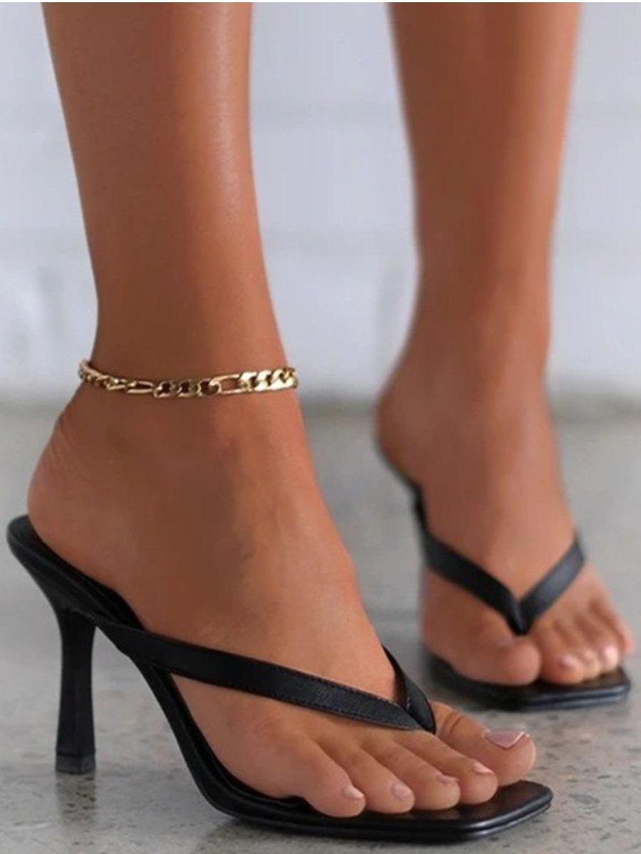 LW BASICS Square-toe Black Heels