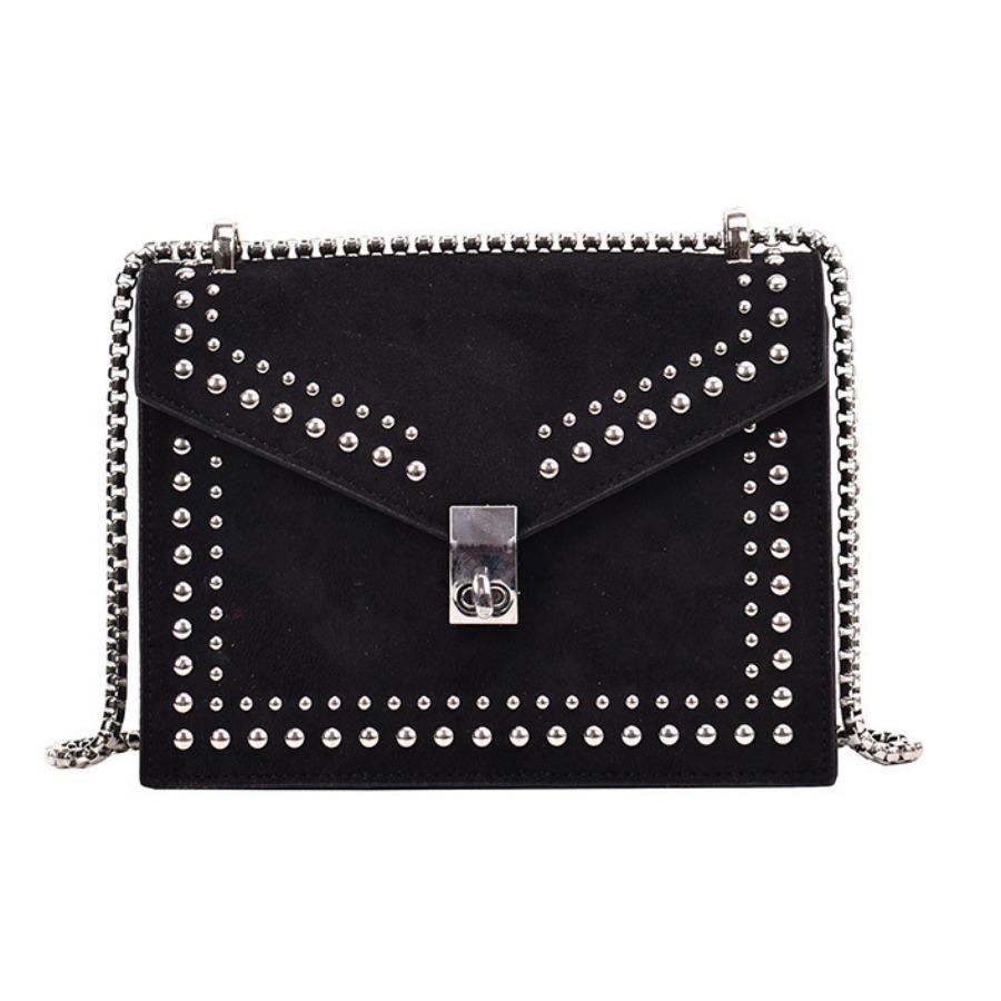 Lovely Casual Rivet Decoration Black Shoulder Bag