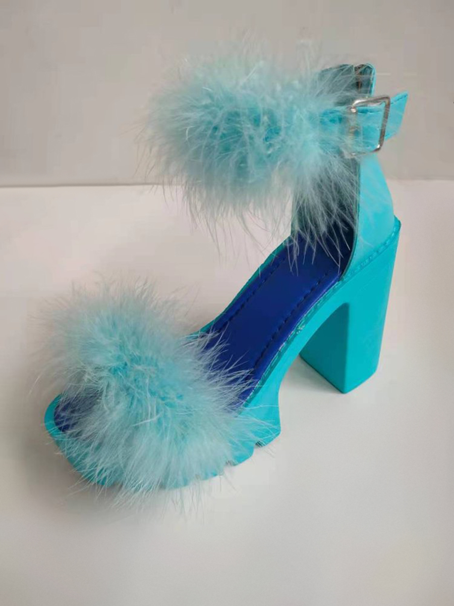 Lovely Casual Fluffy Skyblue Pumps