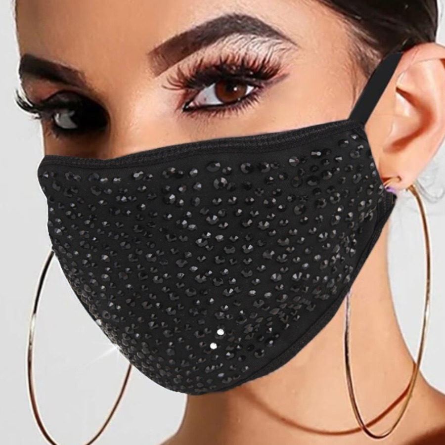 Lovely Casual Rhinestone Pitch-black Face Mask