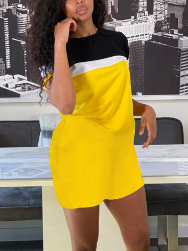 Lovely Plus Size Casual Round Neck Color-lump Yellow Mini Dress