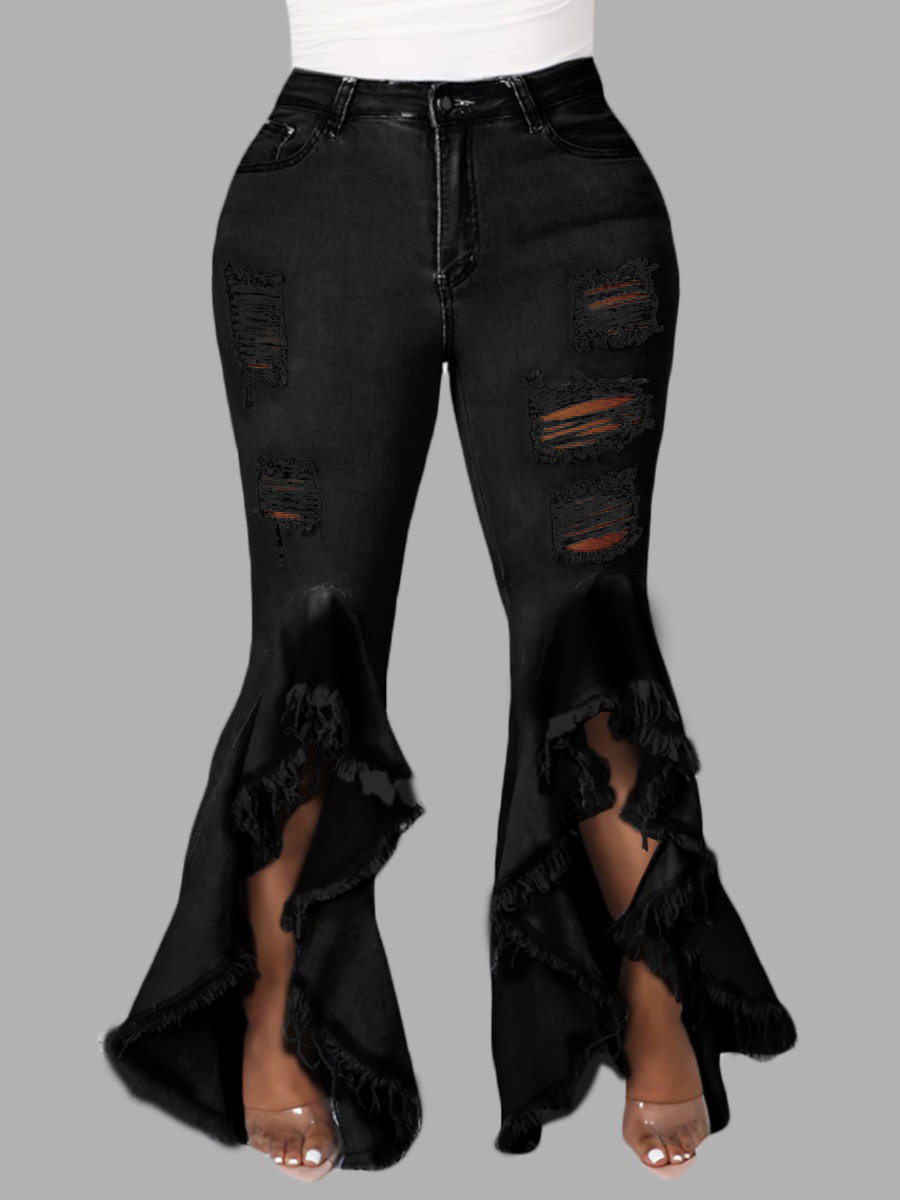 LW Plus Size Sweet Ripped Flared Flounce Design Black Jeans