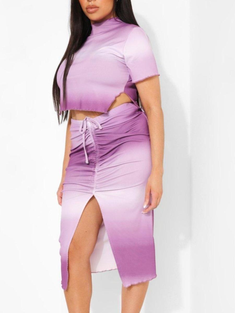 LW Plus Size Casual Tie-dye Drawstring Slit Purple Two-piece Skirt Set
