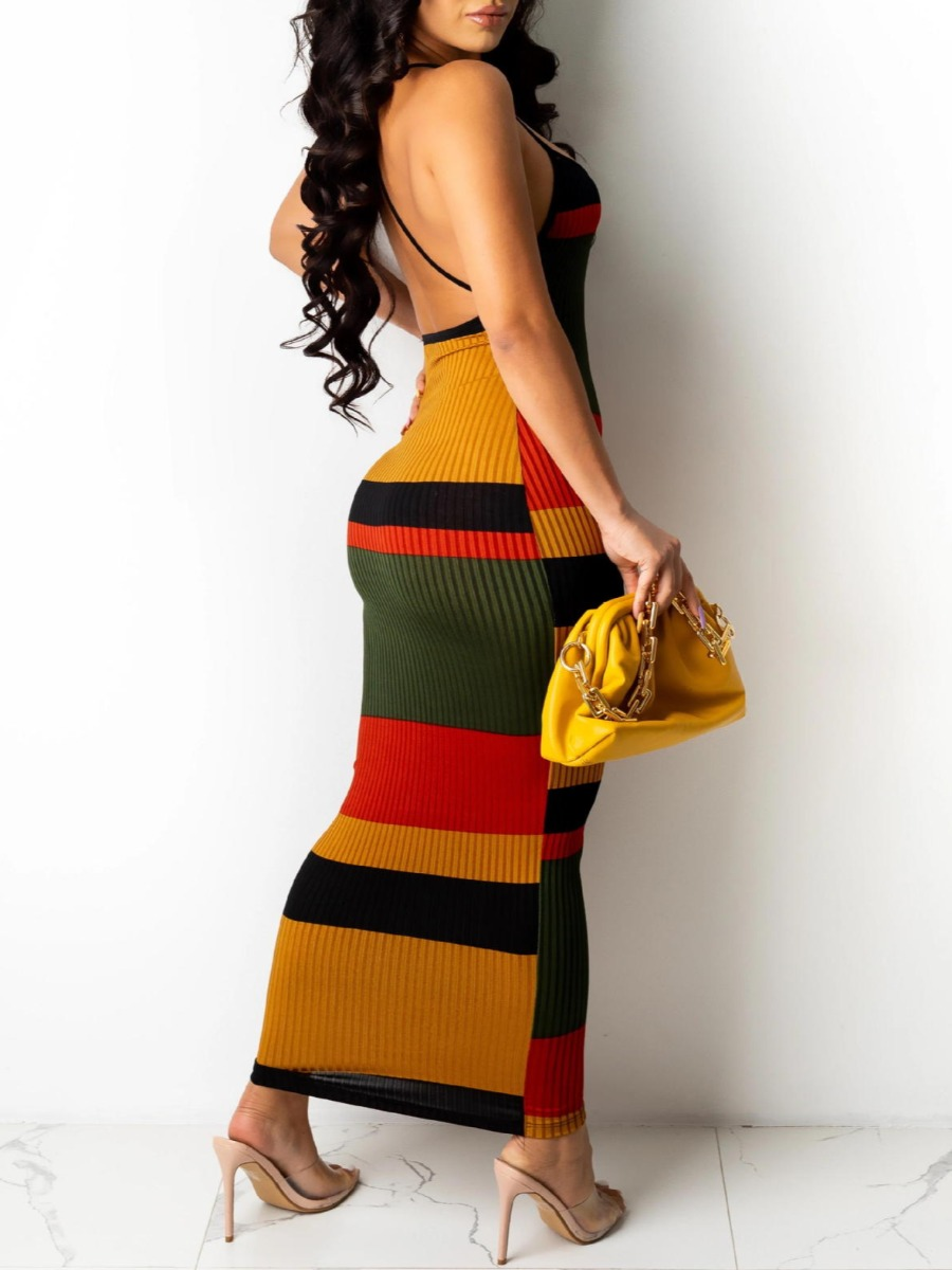 LW SXY Striped Backless Rib-Knit Red Ankle Length Dress