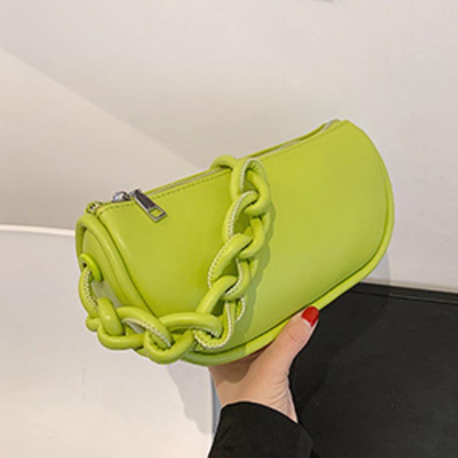 LW BASIC Casual Fold Design Green Shoulder Bag