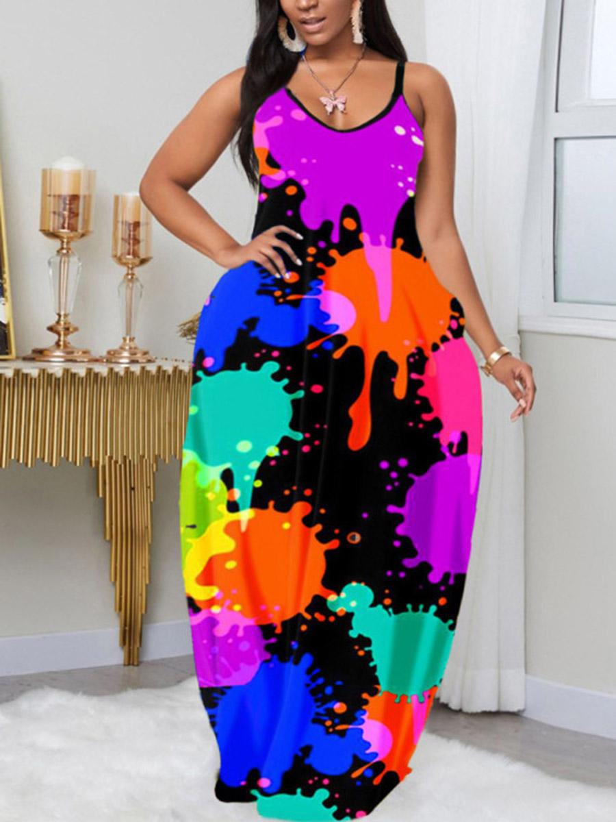 Lovely Plus Size Street Print Patchwork Black Floor Length Dress