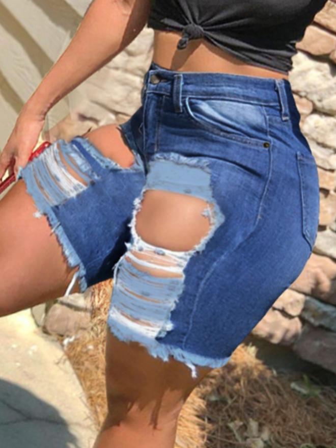Lovely Plus Size Street Ripped Raw Edge Blue Denim Shorts