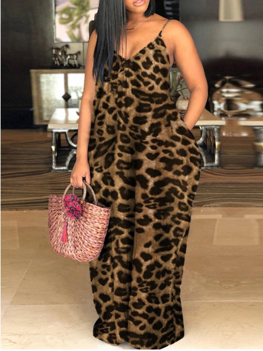 LW Plus Size Casual Leopard Print Pocket Design Brown Floor Length Dress