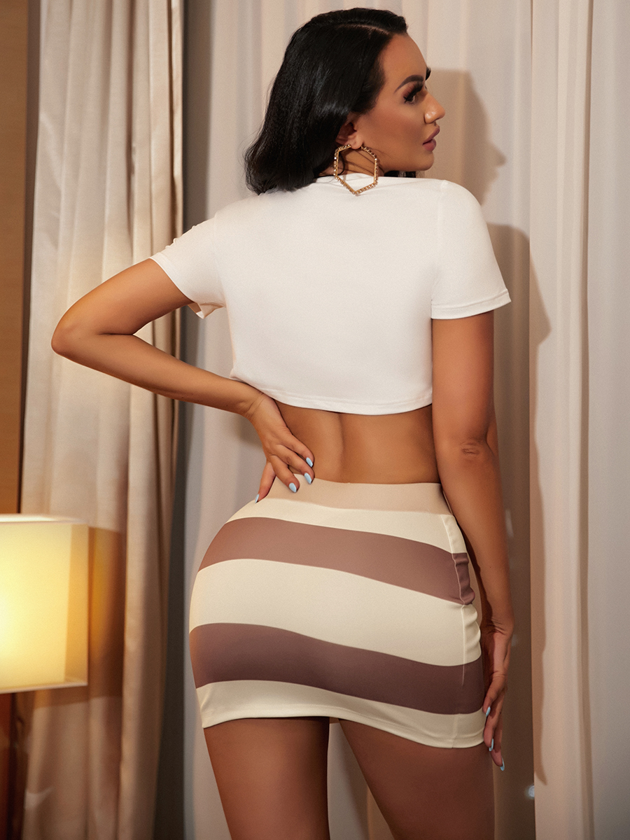 Lovely Sexy Backless Button Design Hollow-out Coffee Two Piece Skirt Set