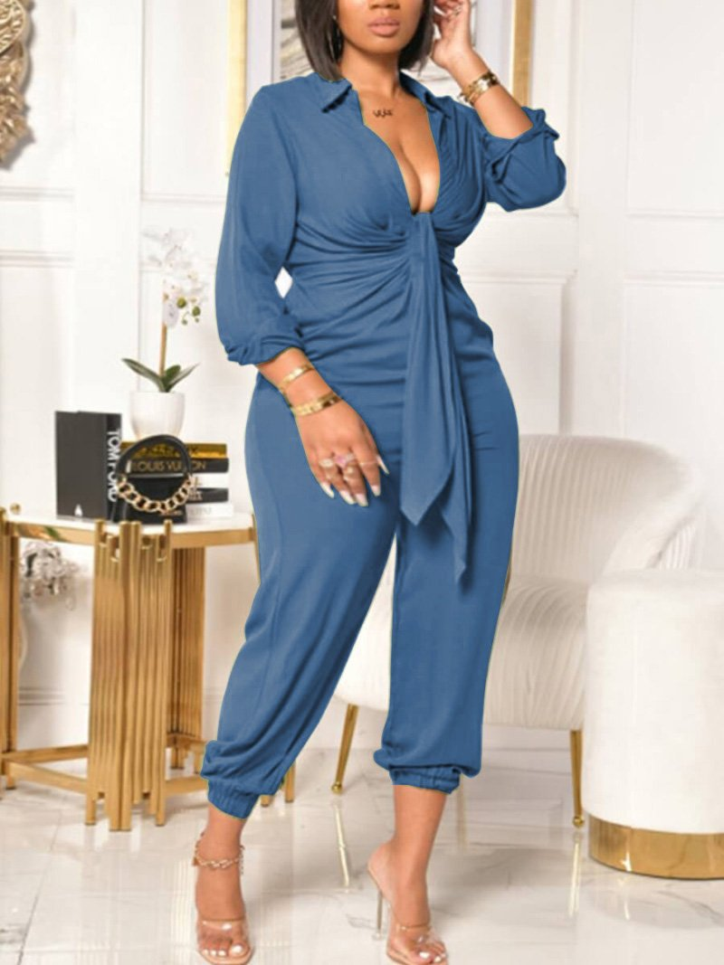 Lovely Plus Size Casual Turndown Collar Bandage Design Blue One-piece Jumpsuit