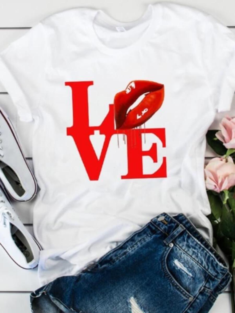 LW Polyester Casual Letter Regular sleeve Basic Regular Short Sleeve Round Neck  Positioning Print T