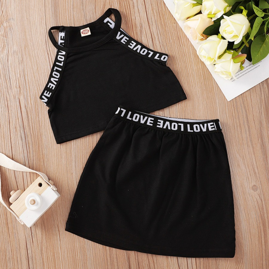 LW COTTON Girl Casual Round Neck Letter Print Black Two Piece Skirt Set