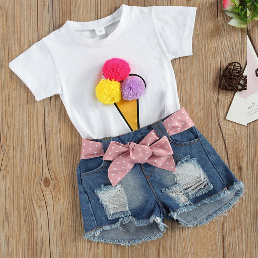 LW COTTON Girl Street Ripped Bow-tie Decoration White Two Piece Shorts Set