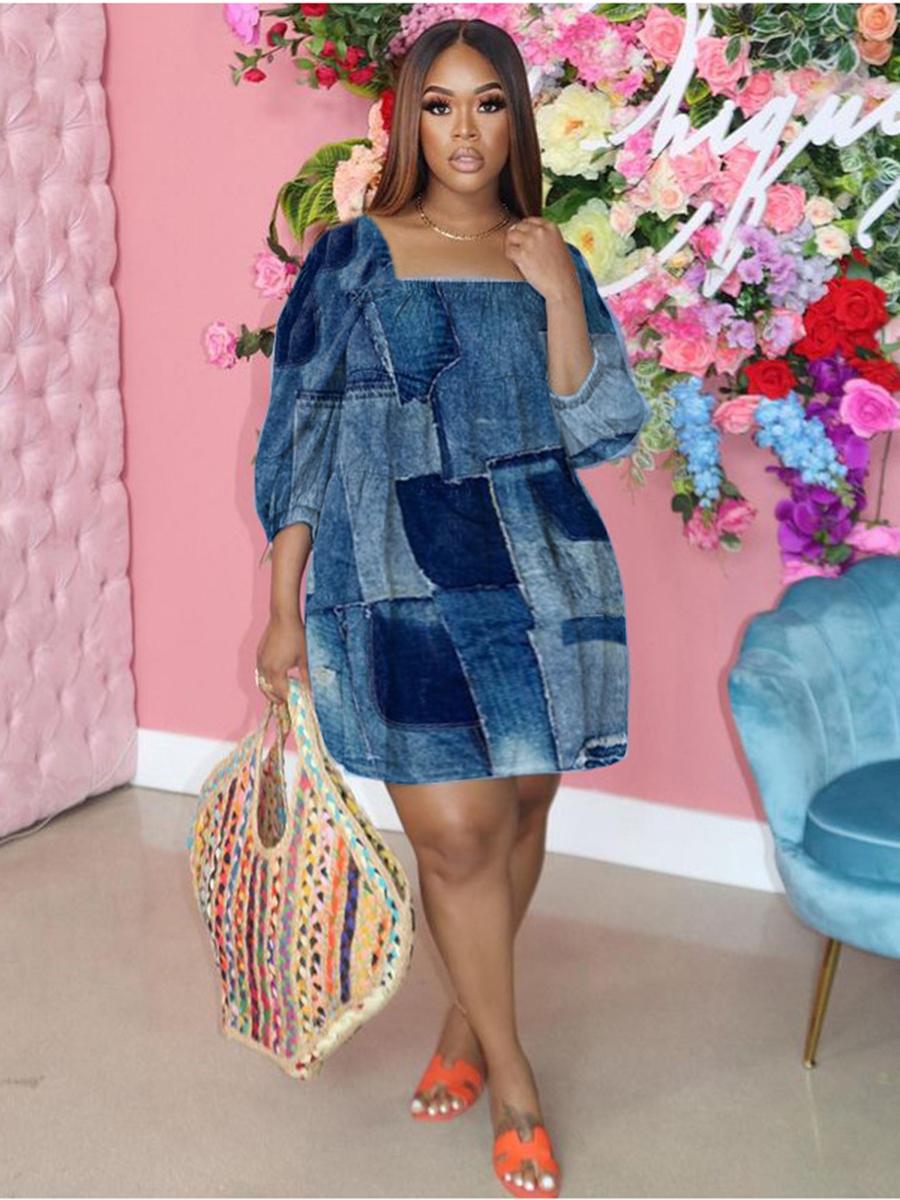 LW BASICS Plus Size Street Square Neck Color-lump Blue Knee Length Dress
