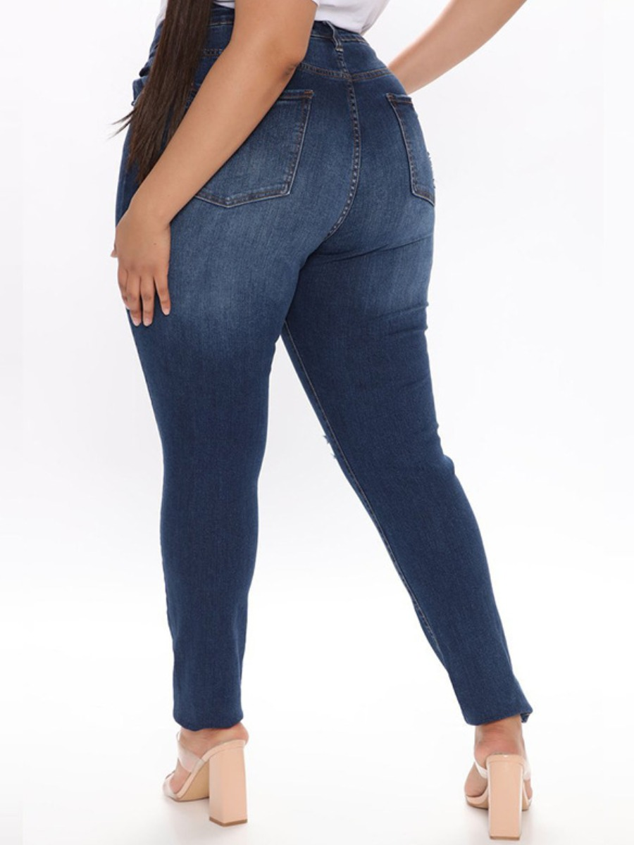 Lovely Plus Size Casual Mid Waist Ripped Deep Blue Jeans