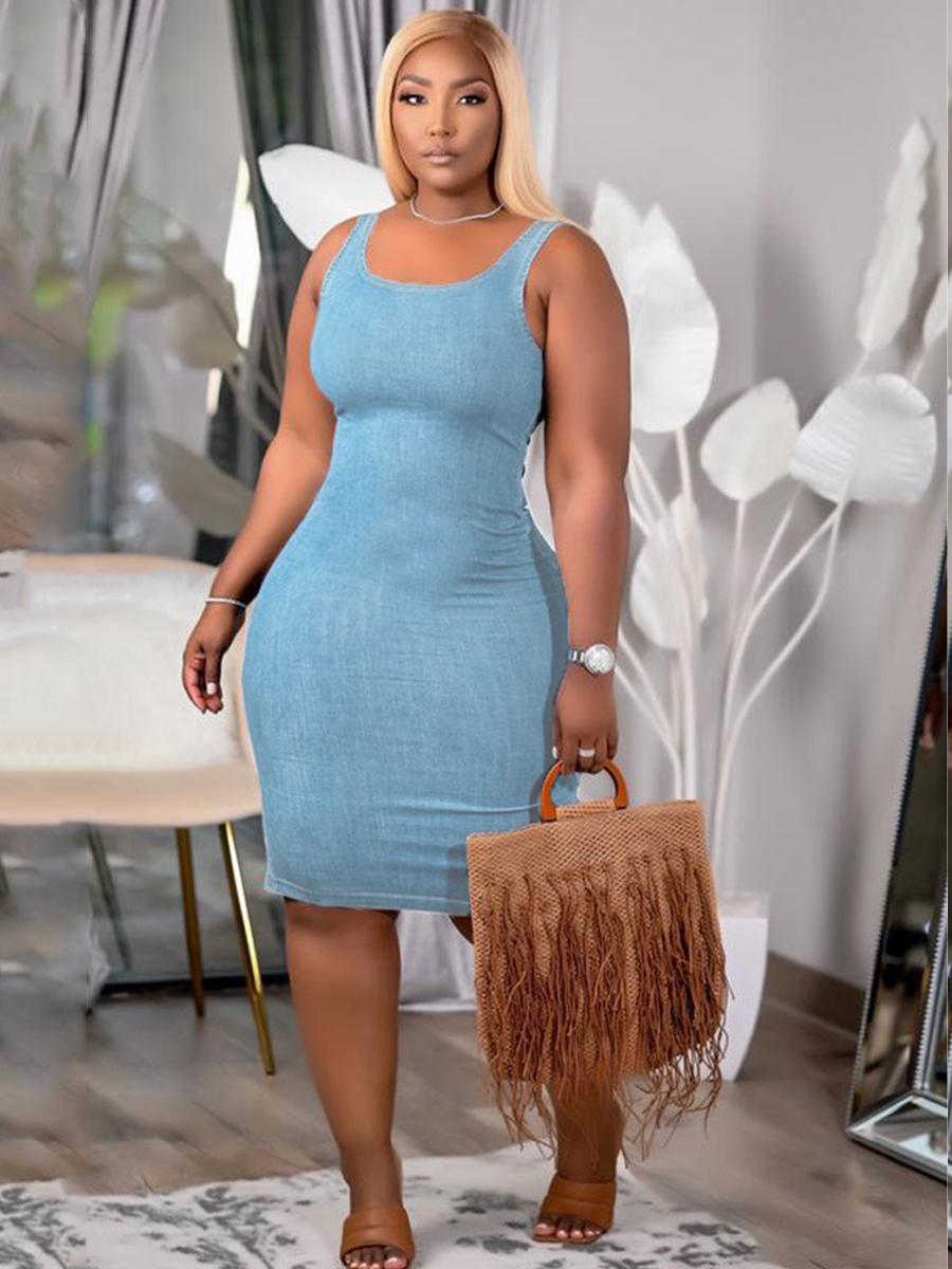 LW BASIC Casual U Neck Elastic Baby Blue Knee Length Dress