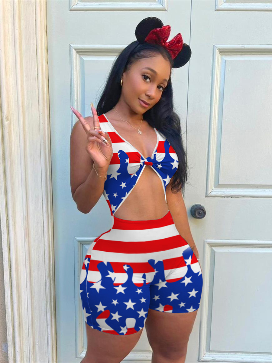 Lovely Plus Size Street American Flag Print Knot Design Blue One-piece Romper