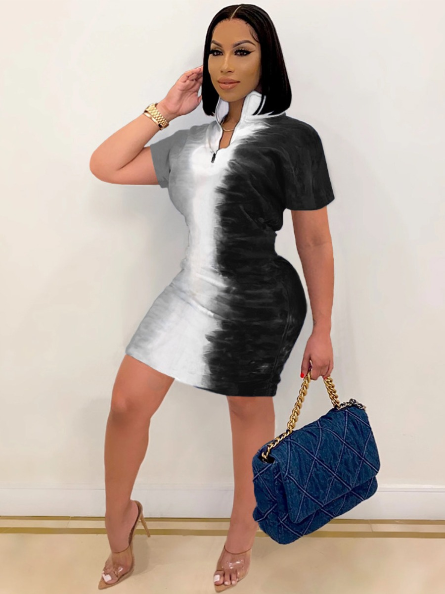 Lovely Street Mandarin Collar Tie-dye Black Mini Dress